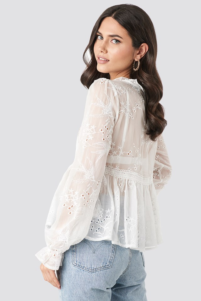 Frill Neck Embroidery Blouse White
