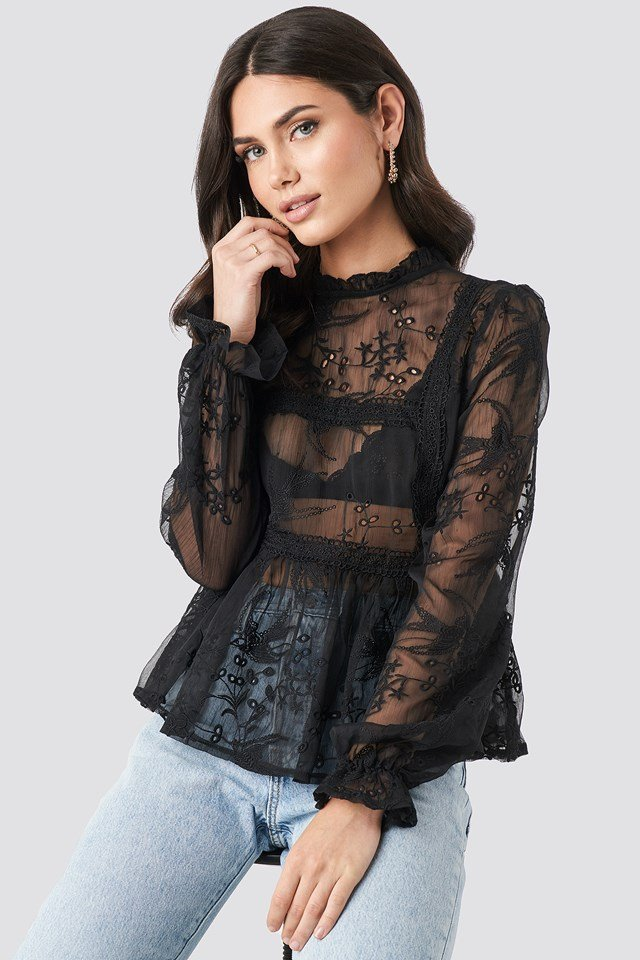 Frill Neck Embroidery Blouse Black