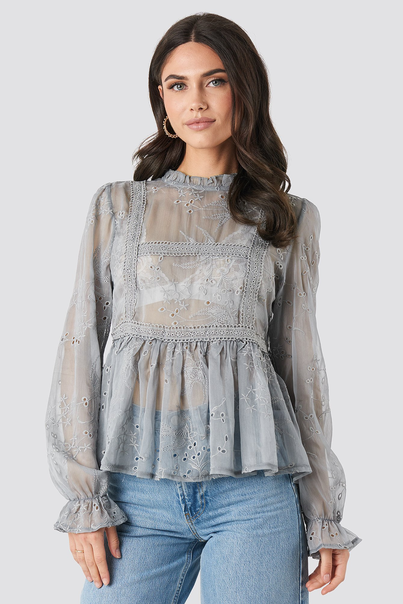 Frill Neck Embroidery Blouse Bleu by Na Kd Boho