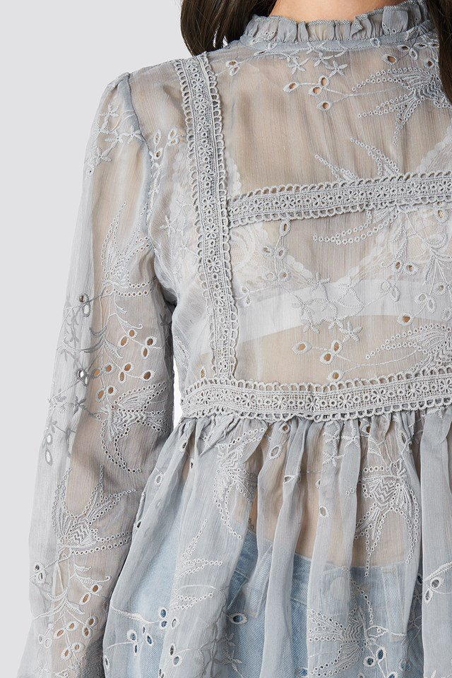 Frill Neck Embroidery Blouse Dusty Blue