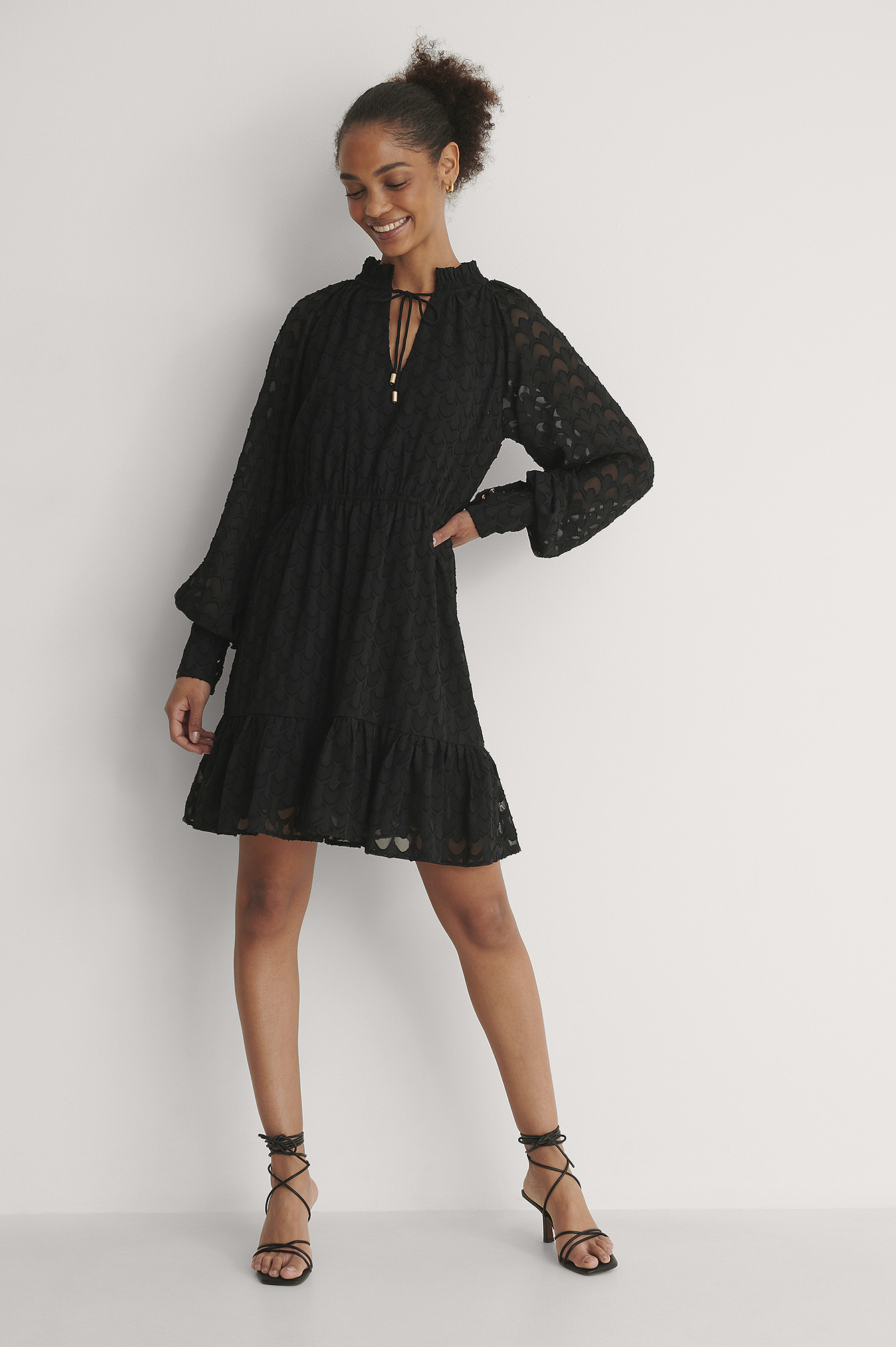 Black Frill Neck Jacquard Detail Mini Dress