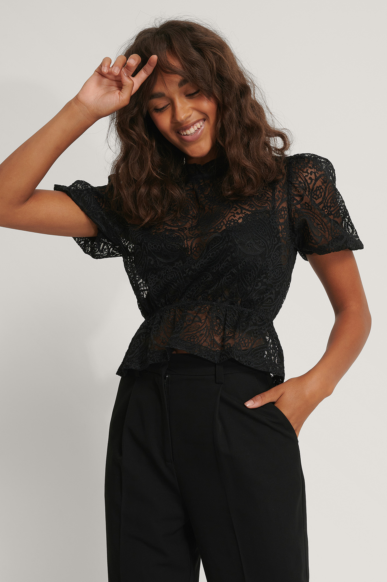 Black Frill Neck Lace Top