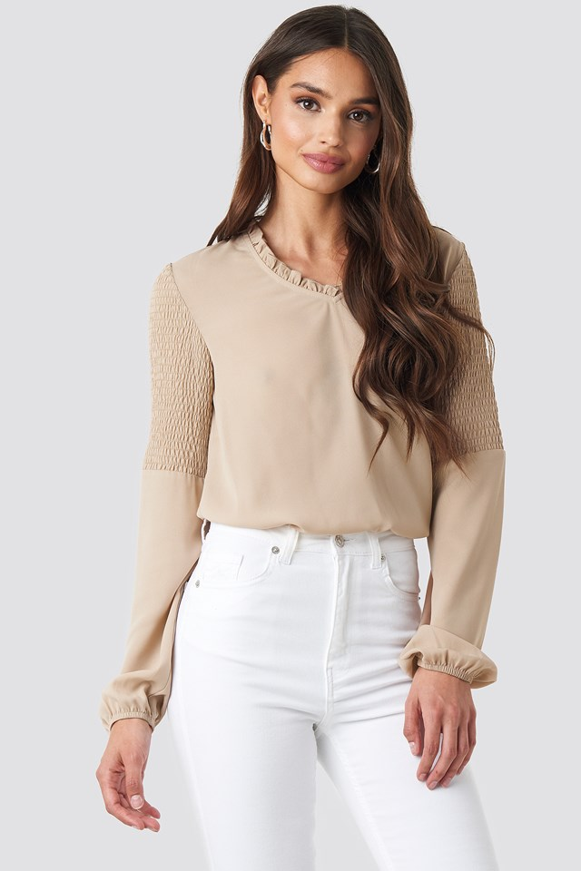 Frill Neck Shirred Part Blouse Tan