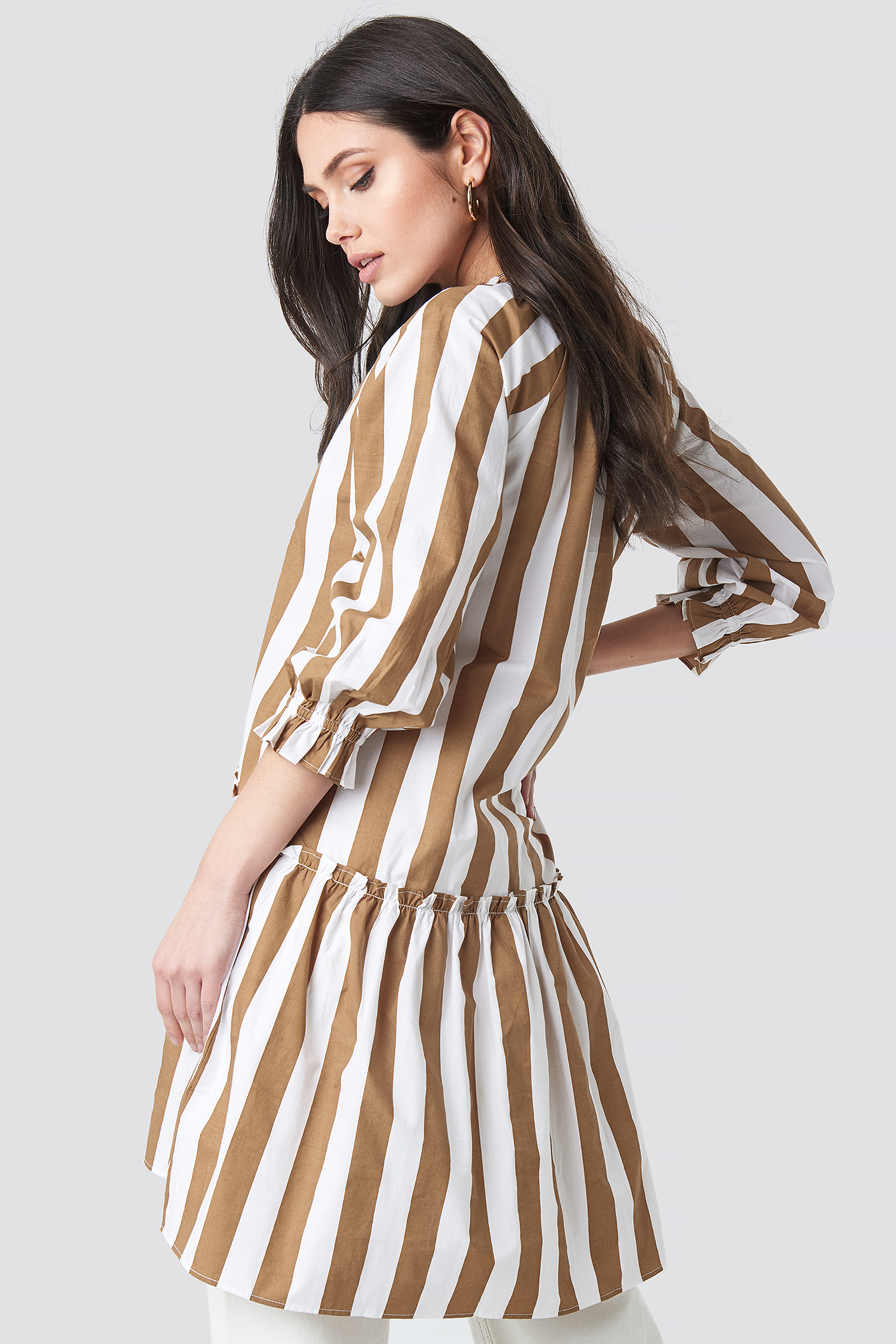 Frill Neck Striped Midi Dress NA-KD.COM