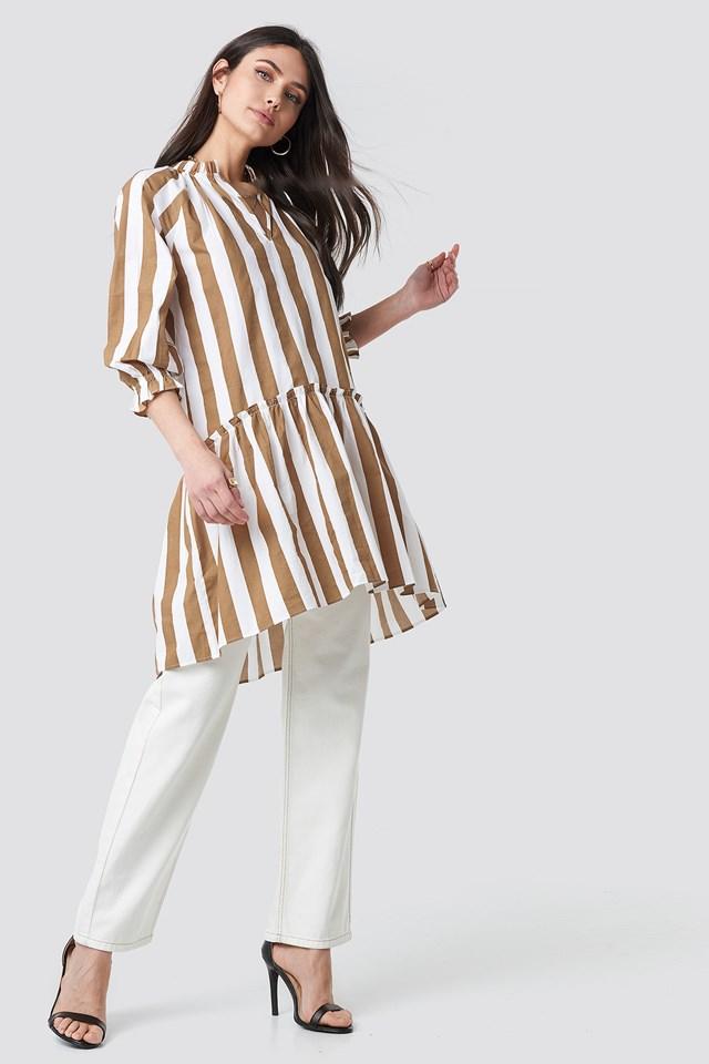 Frill Neck Striped Midi Dress White/Beige Stripe