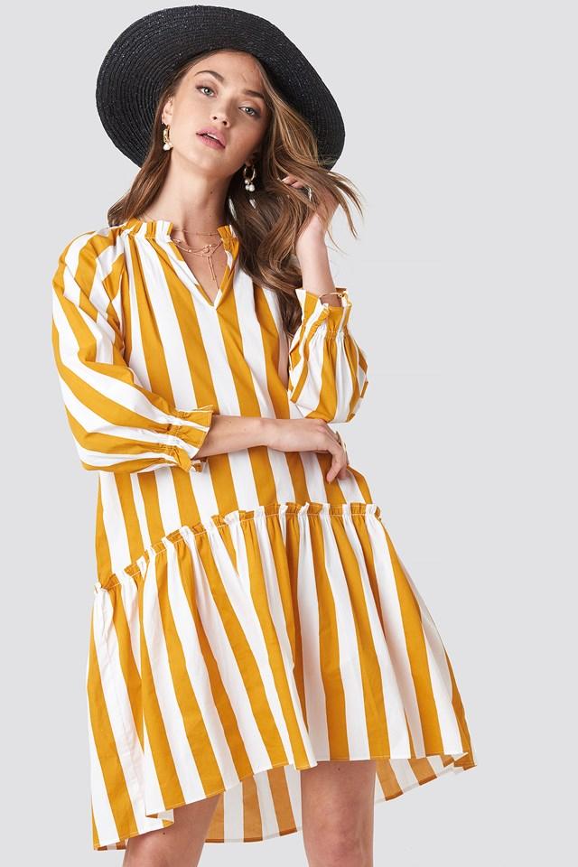 Frill Neck Striped Midi Dress White/Yellow Stripe