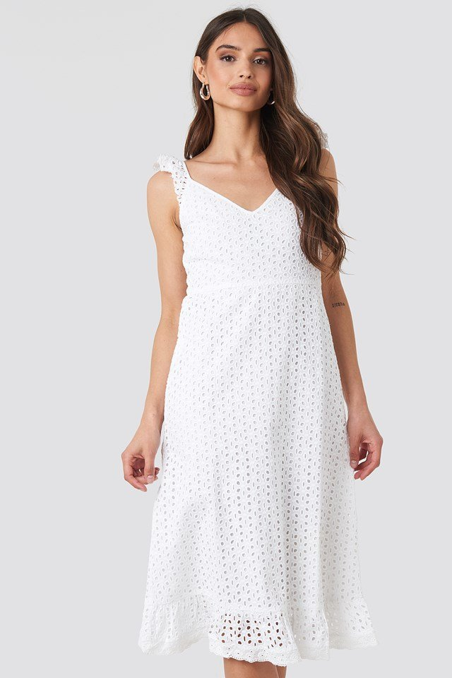 Frill Shoulder Strap Anglaise Dress White