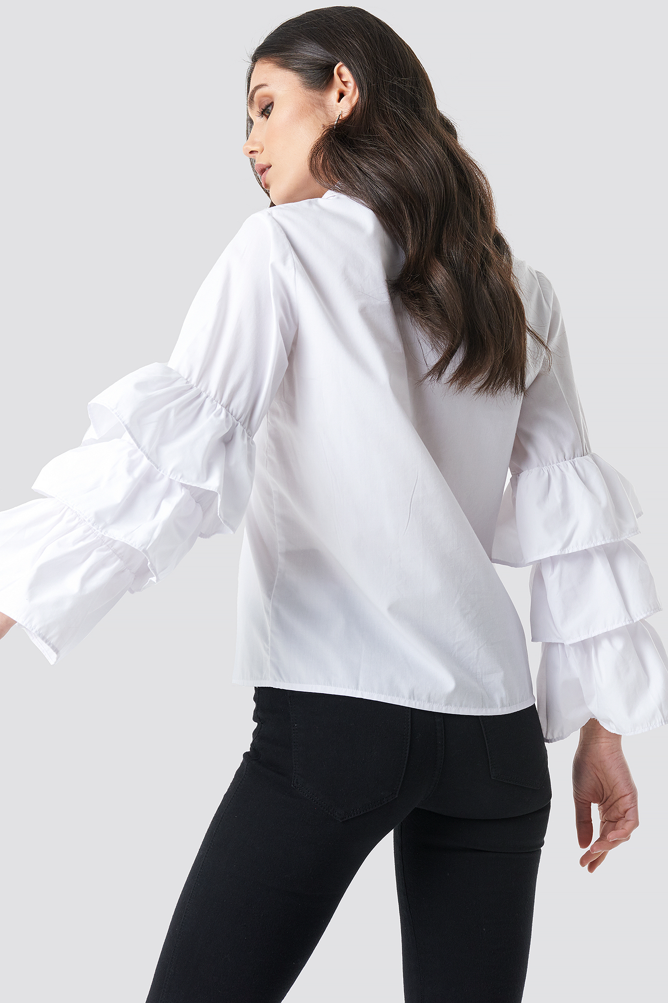 Frill Sleeve Covered Buttons Shirt NA-KD.COM