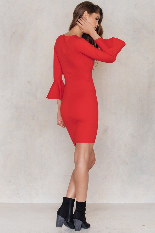Frill Sleeve Dress Red