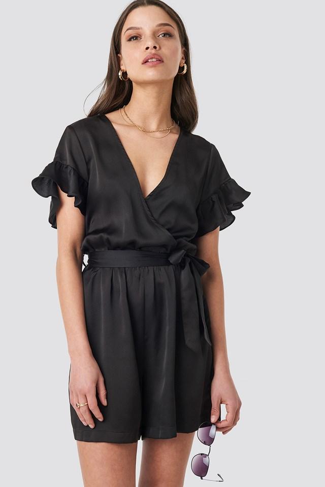 Frill Sleeve Playsuit Black