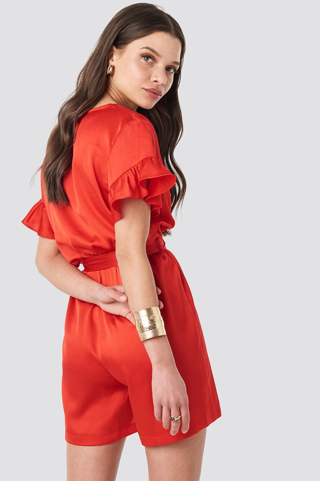 Frill Sleeve Playsuit Red