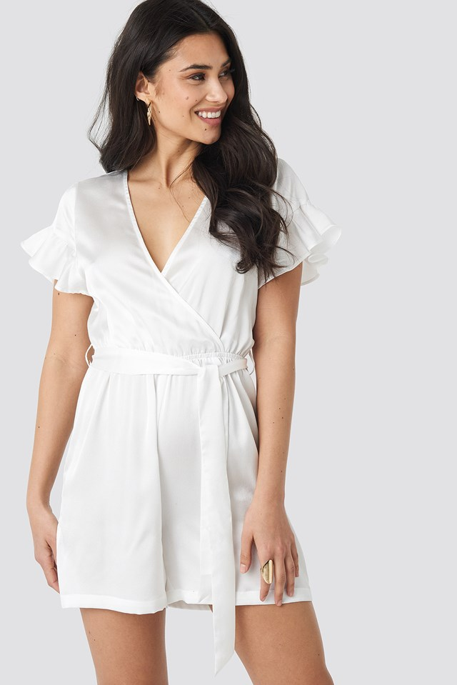Frill Sleeve Printed Playsuit Offwhite