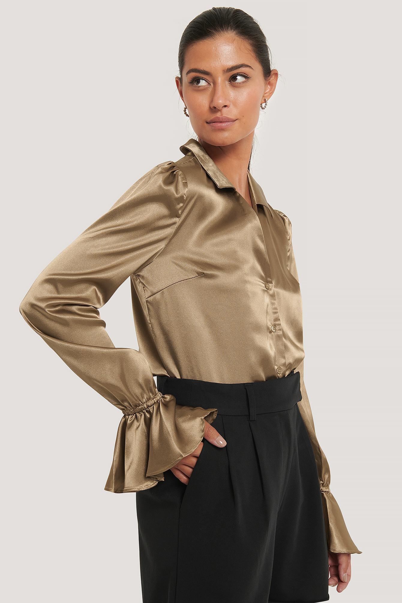afj x na-kd -  Frill Sleeve Satin Shirt - Beige