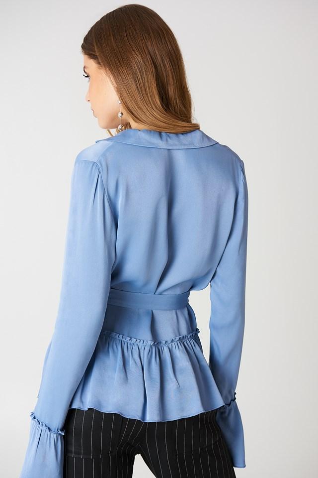 Frill Tie Waist Blazer Blue Stone