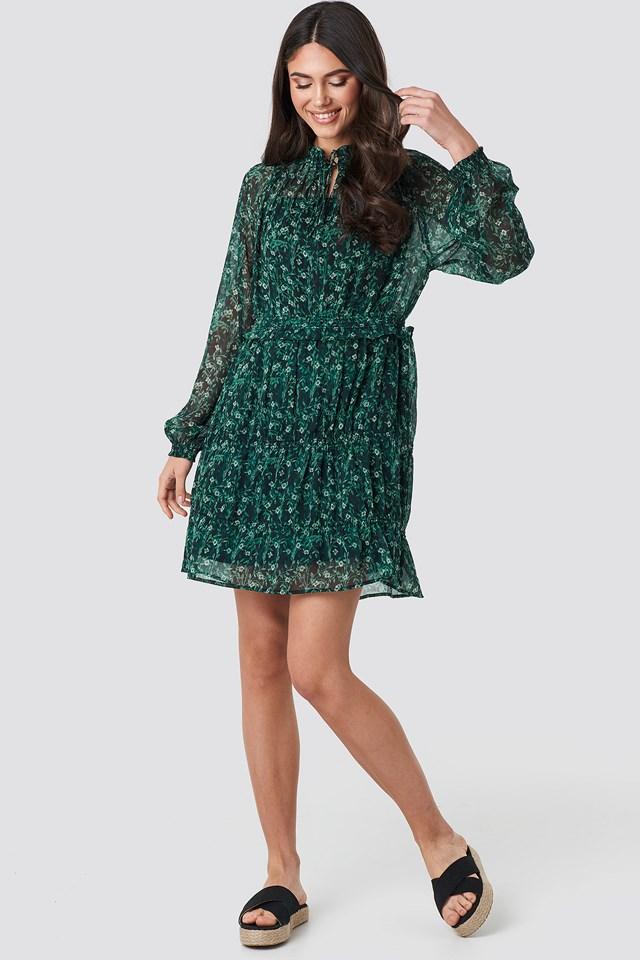 Frill V-Neck Chiffon Mini Dress Green Flower