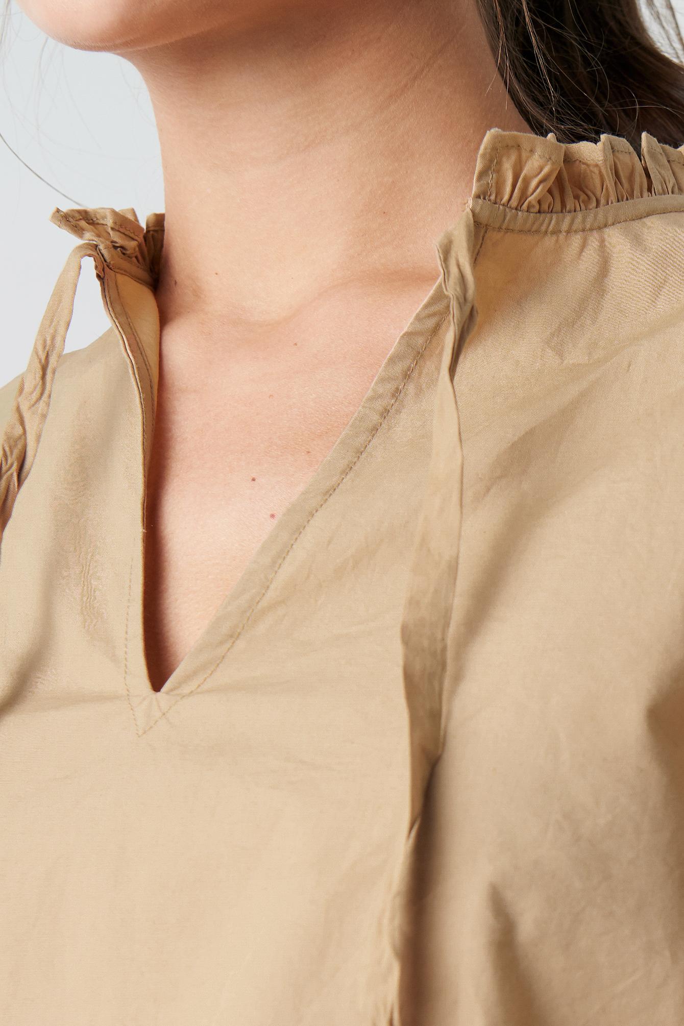 Frill V-Neck Puff Sleeve Blouse NA-KD.COM