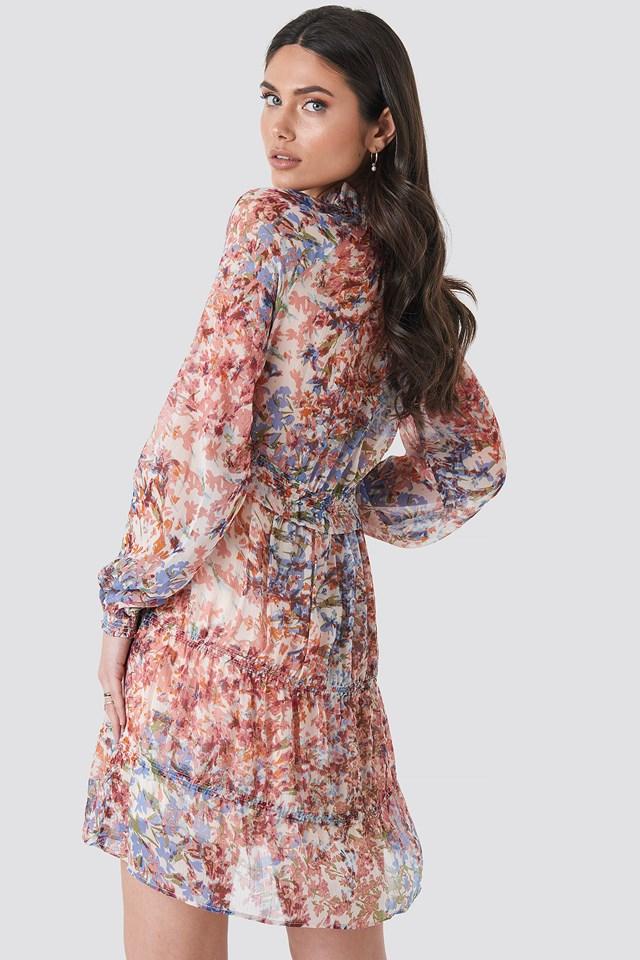 Frill V-Neck Chiffon Mini Dress Multi Print