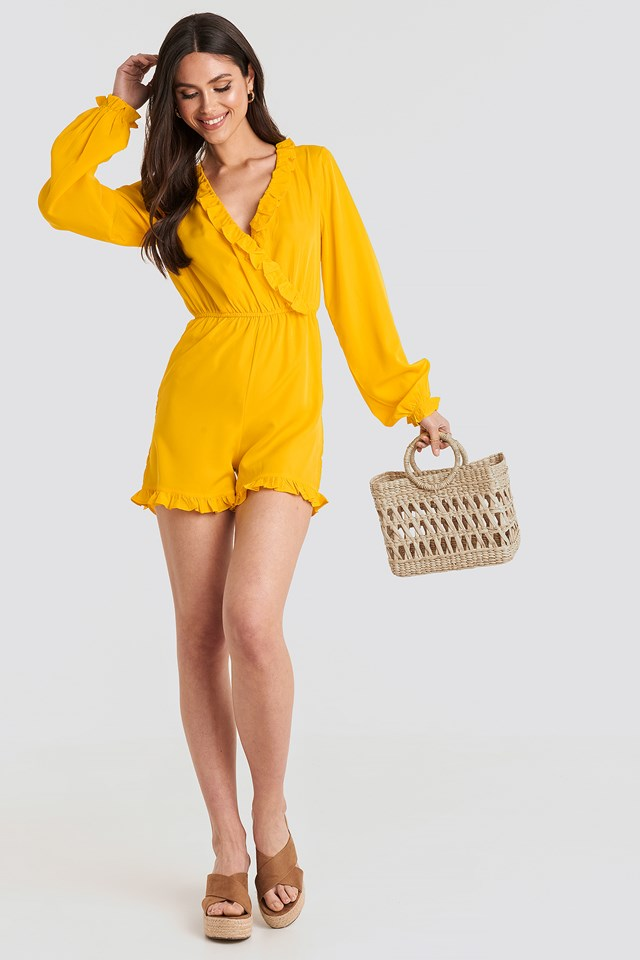 Frill Wrap Front Playsuit Citrus
