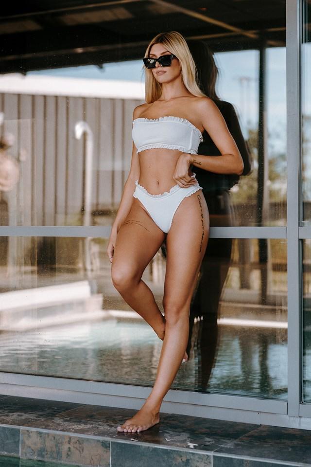 Frilled Smocked Bikini Bottom White
