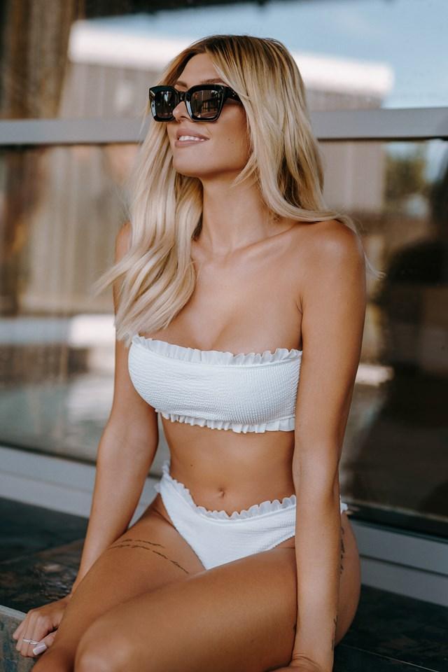 Frilled Smocked Bikini Top White