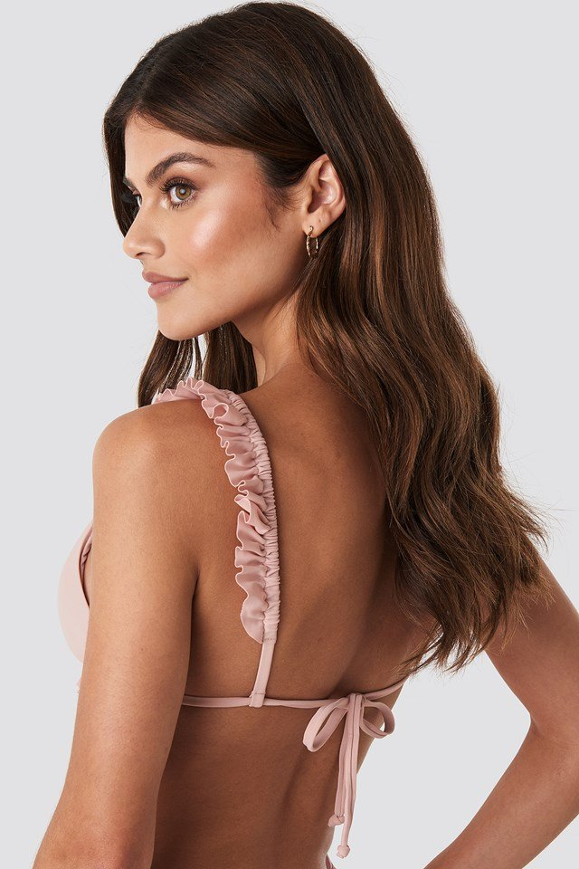 Frilled Triangle Bikini Top Pink
