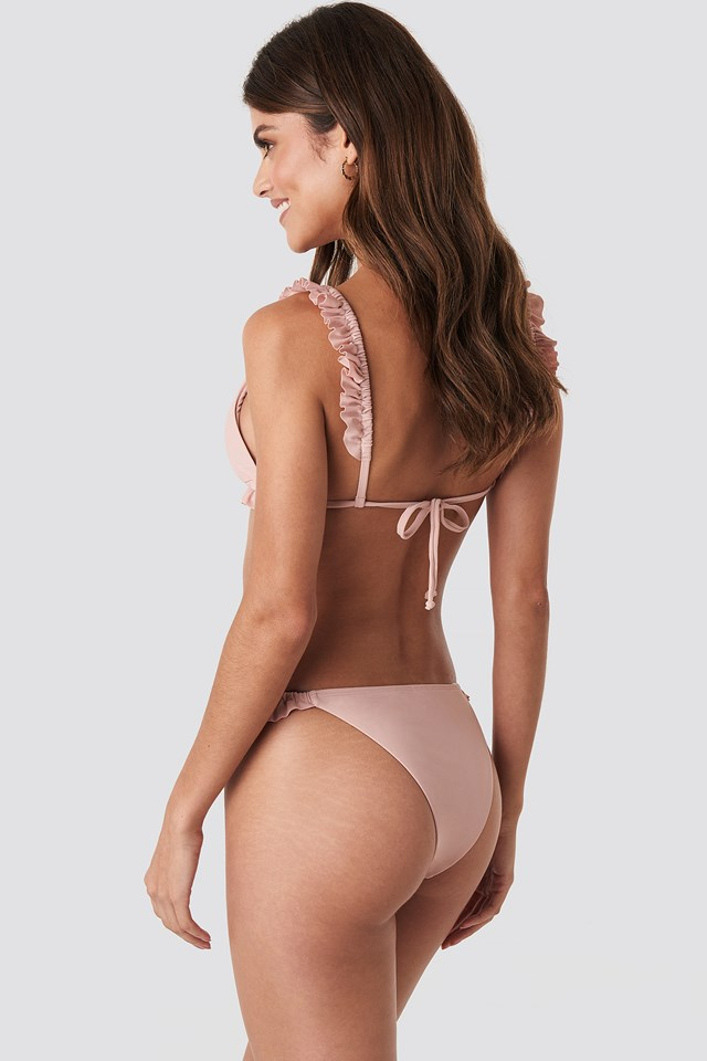 Frilled Triangle Bikini Top Pink