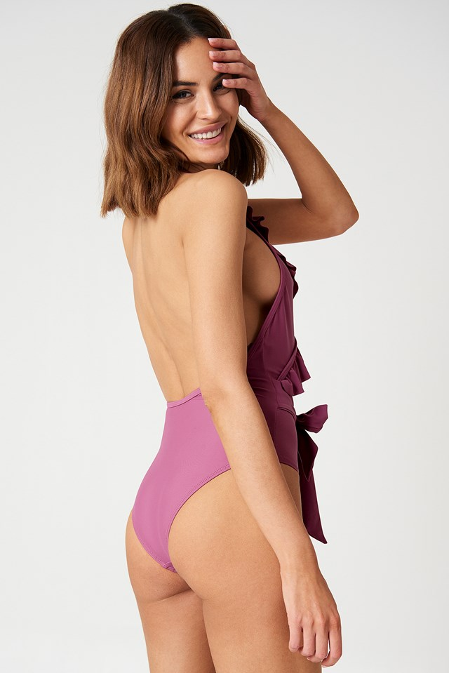 Frill Tie Waist Swimsuit Pink Rose