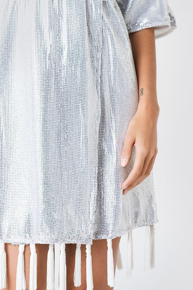 Fringe Detail Sequin Dress White