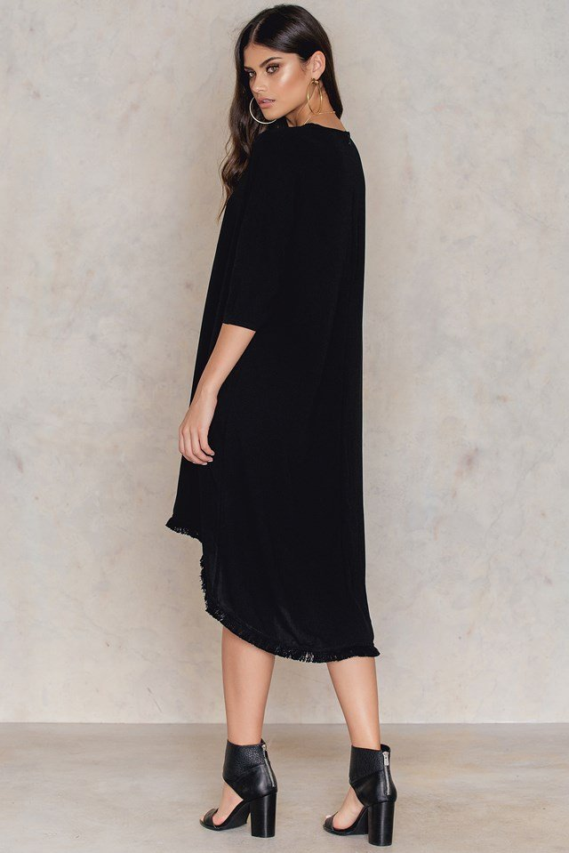 Fringe Hem Dress Black