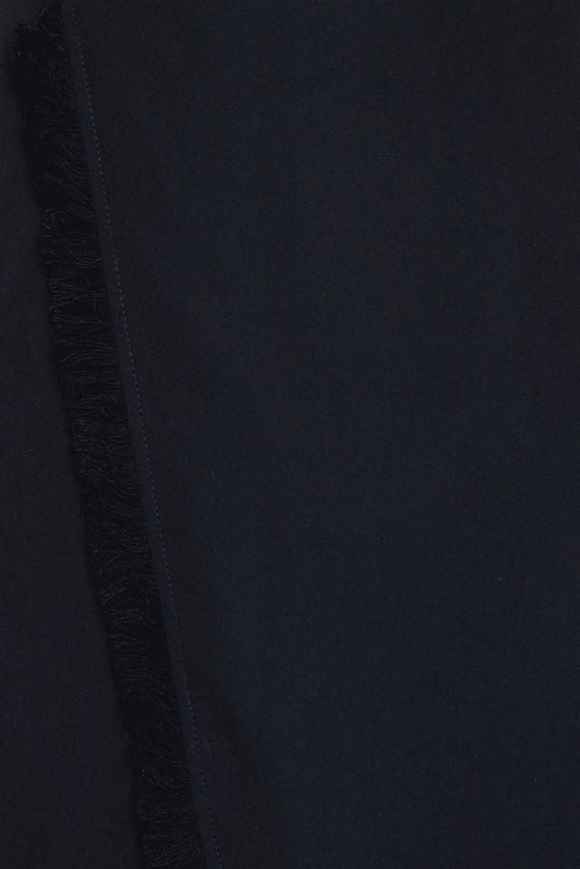 Fringe Hem Overlap Dress Black