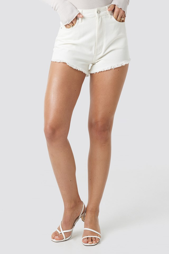Fringe Hem Short Denim Shorts White