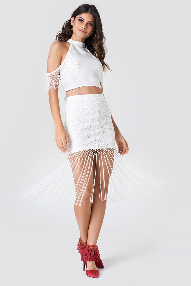 Fringe Lace Skirt White