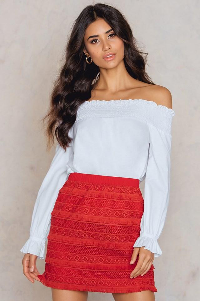 Fringed Skirt Red