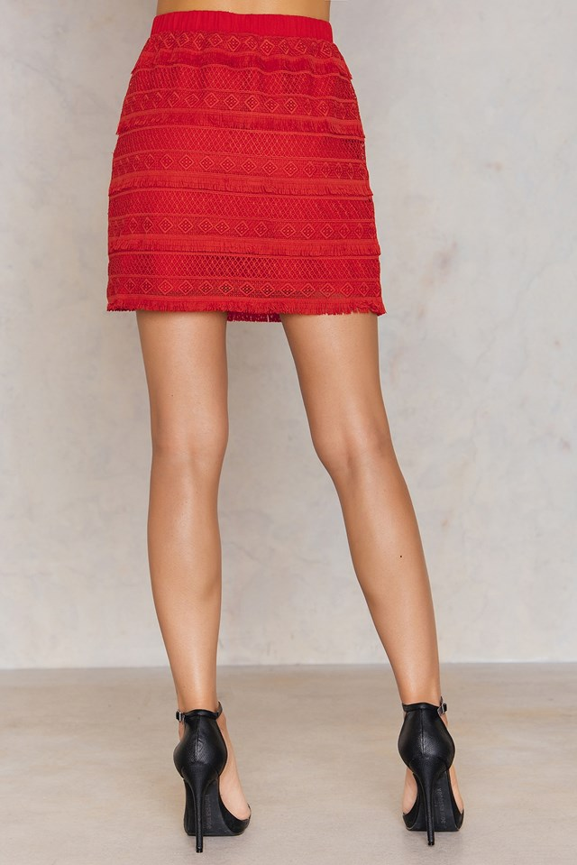 Fringed Skirt Red