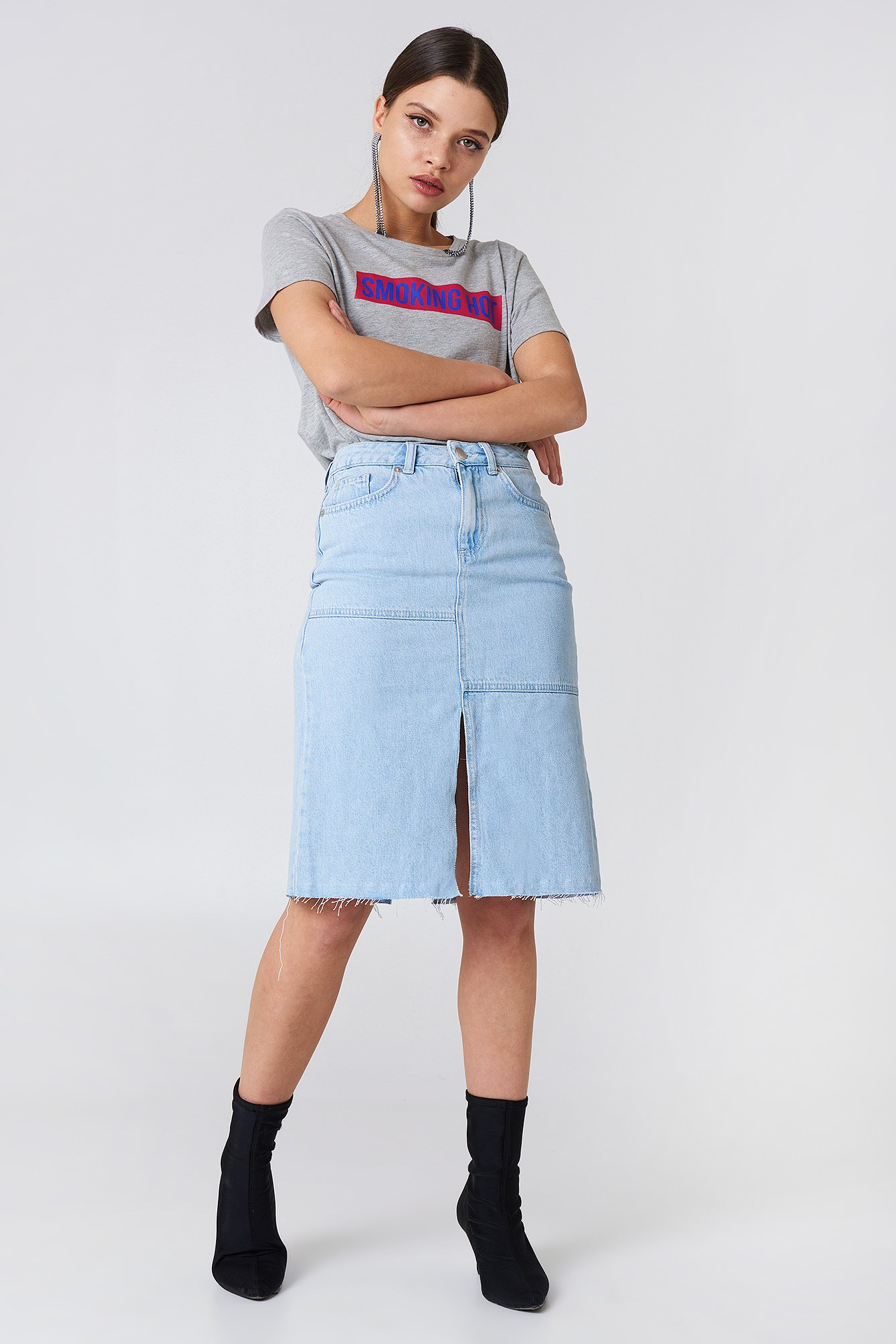 na-kd boho -  Front Back Slit Denim Skirt - Blue