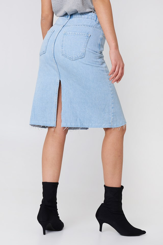 Front Back Slit Denim Skirt Light Blue