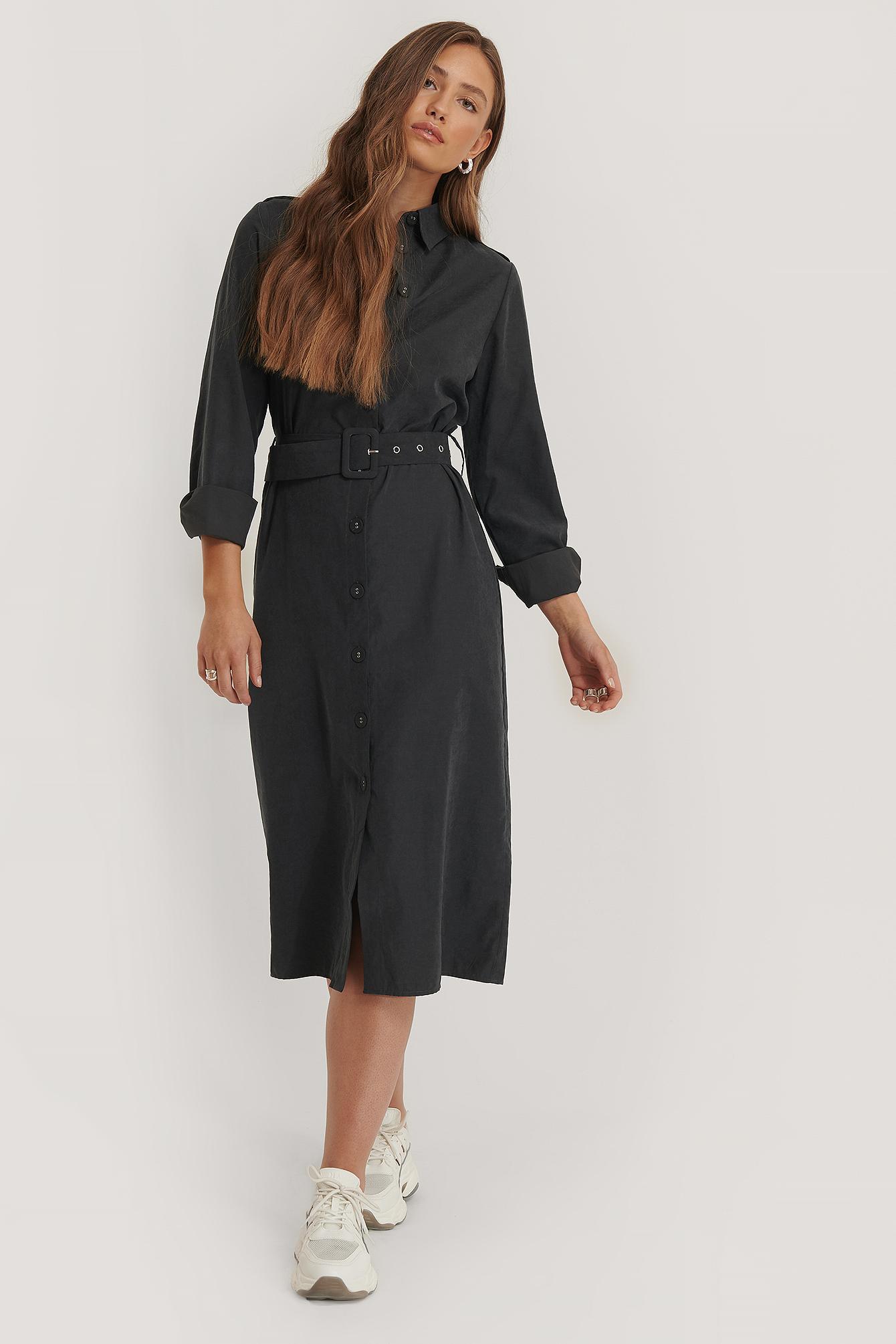 NA-KD Hemdkleid Mit Gürtel - Black | Bekleidung > Kleider > Blusenkleider | NA-KD