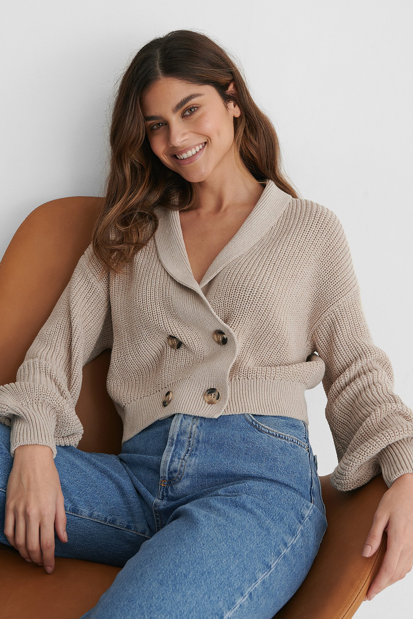 Light Beige Recycled Front Button Sweater