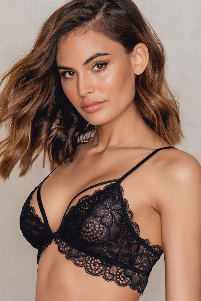 Front Clasp Lace Bra Black