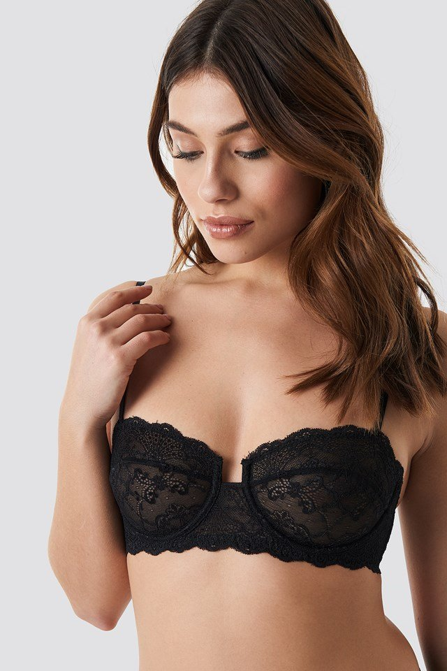 Front Cut Balconette Bra Black