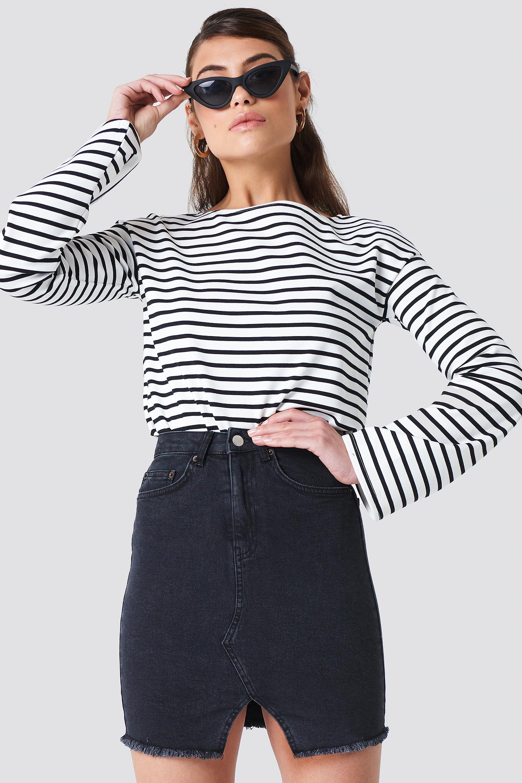 na-kd trend -  Front Cut Denim Skirt - Black