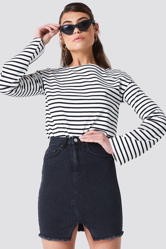 Front Cut Denim Skirt NA-KD Trend