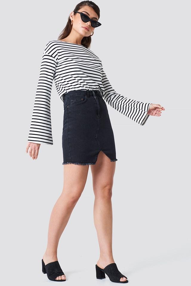 Front Cut Denim Skirt Black
