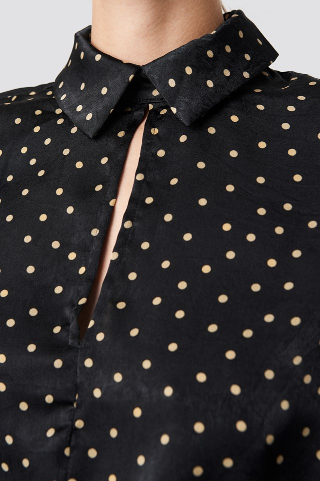 Front Cut Out Dotted Top Black