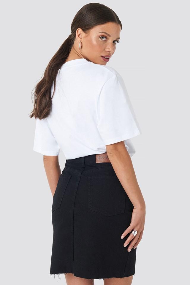 Front Slit Denim Skirt Black