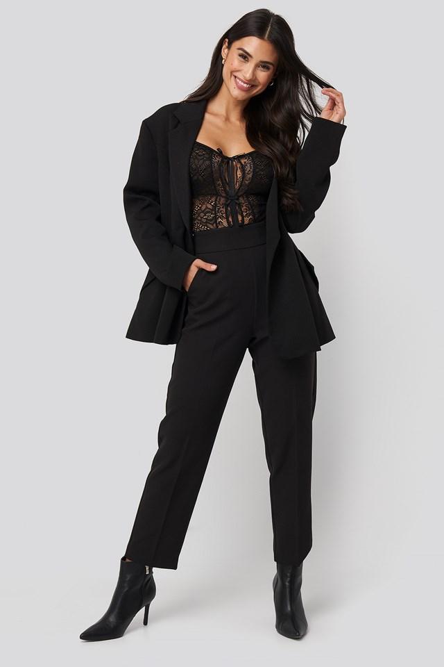 Front Detail Lace Bodysuit Black