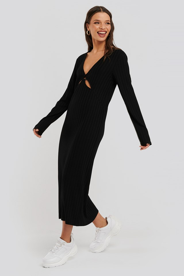Front Detail Midi Dress Black