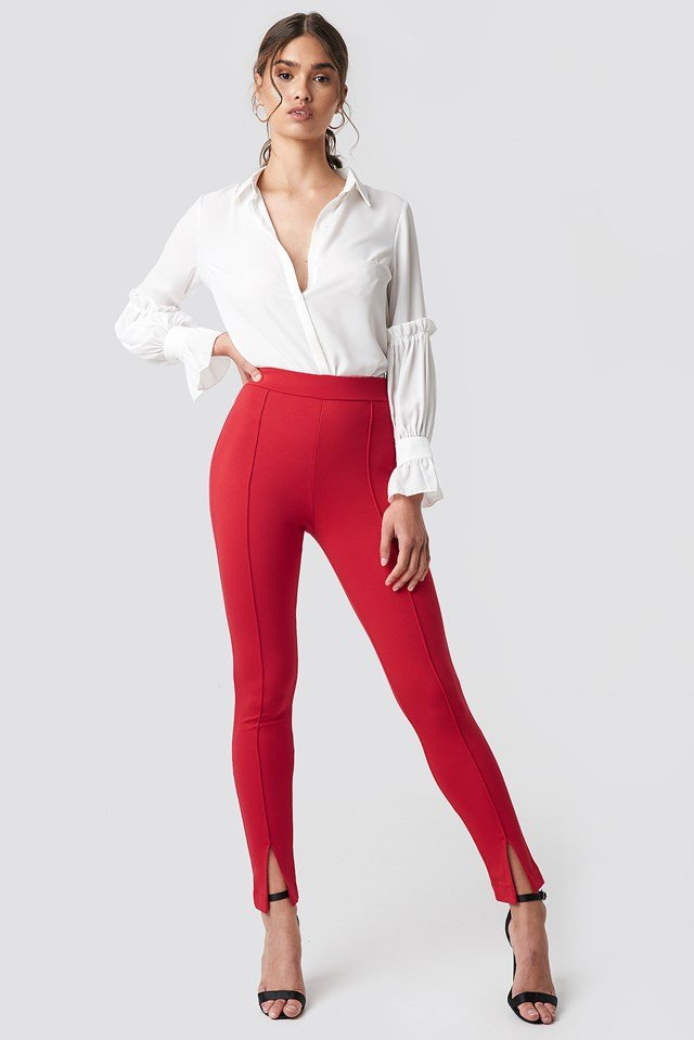 Front Detail Pants Red