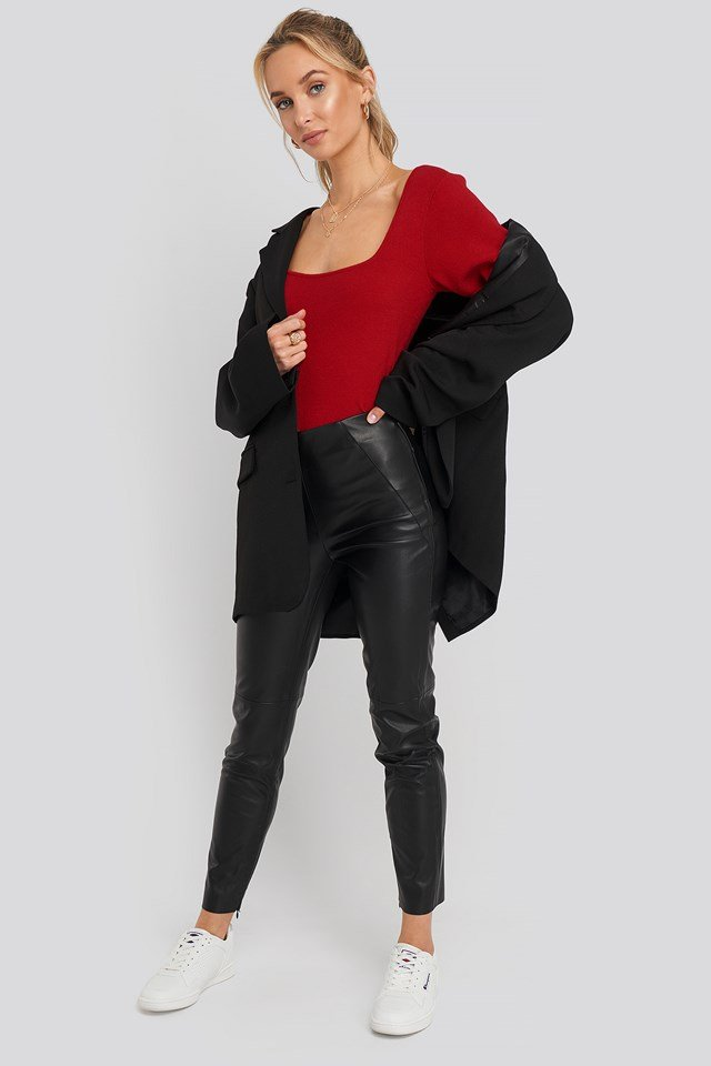 Front Detail Seam Pu Pants NA-KD Trend