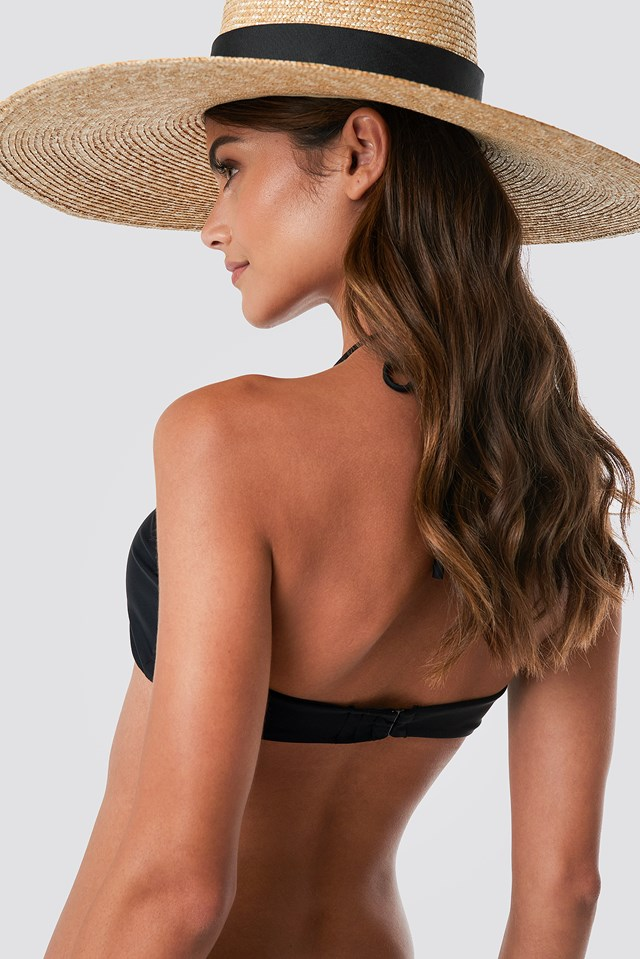Front Drawstring Bandeau Top Black